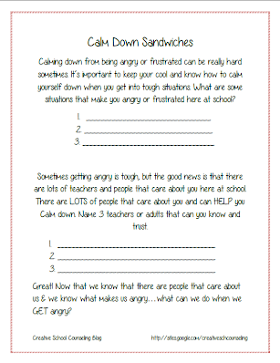 Printables Career Exploration Worksheets For Highschool Students counseling lesson plans crafts ideas the creative school free anger sandwiches worksheet activity