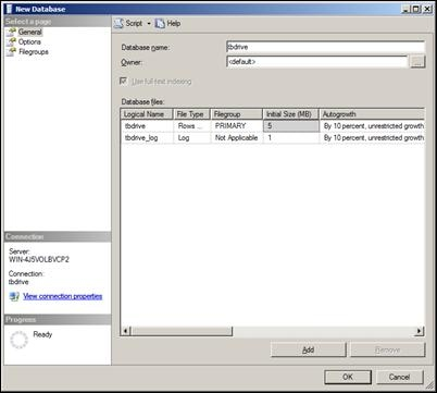 Database Creation Dialog