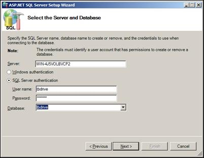 SQL Credentials for application services