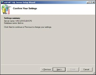 Confirm Application Services Settings