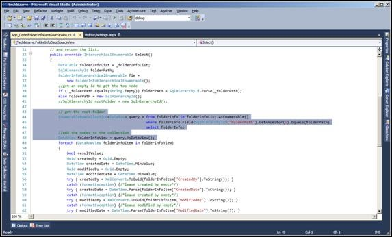 FolderInfoDatasourceView class showing LINQ query