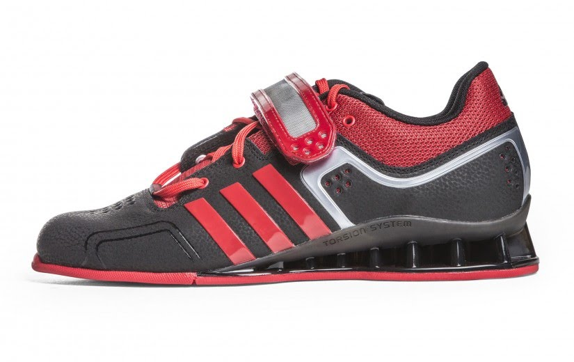 Adidas Adipower mens weight lifting shoes black and red