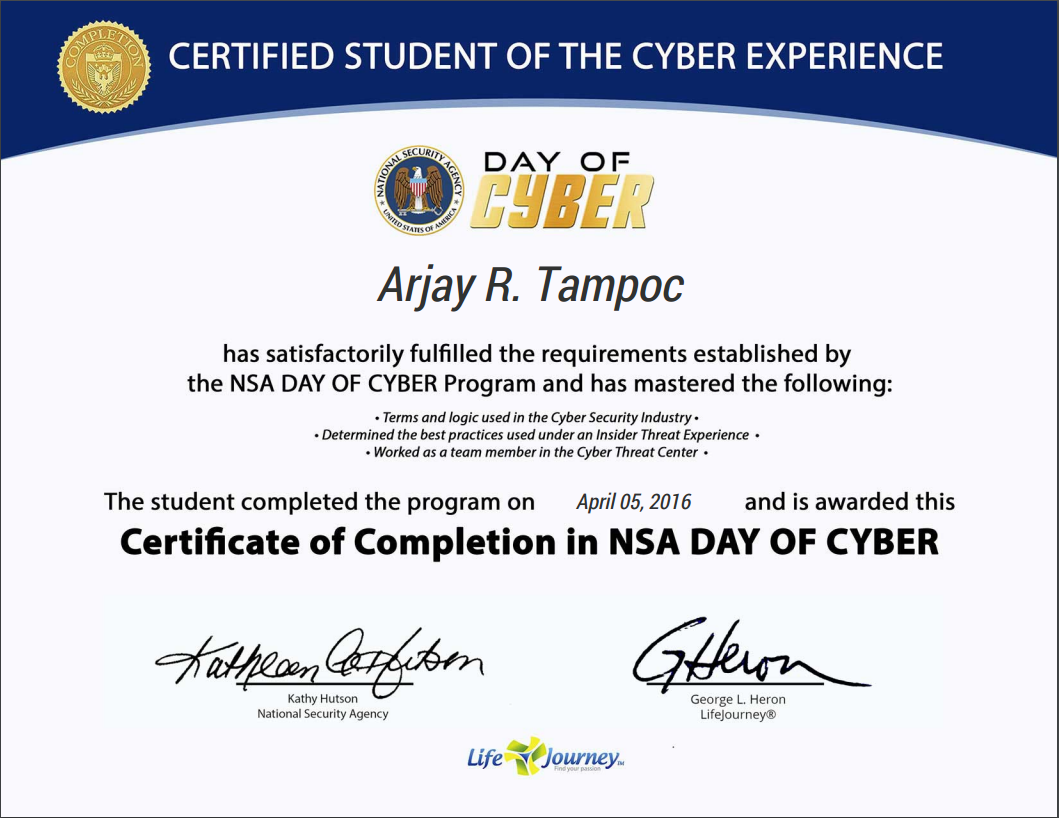 Nsa Day Of Cyber Arjay Tampoc