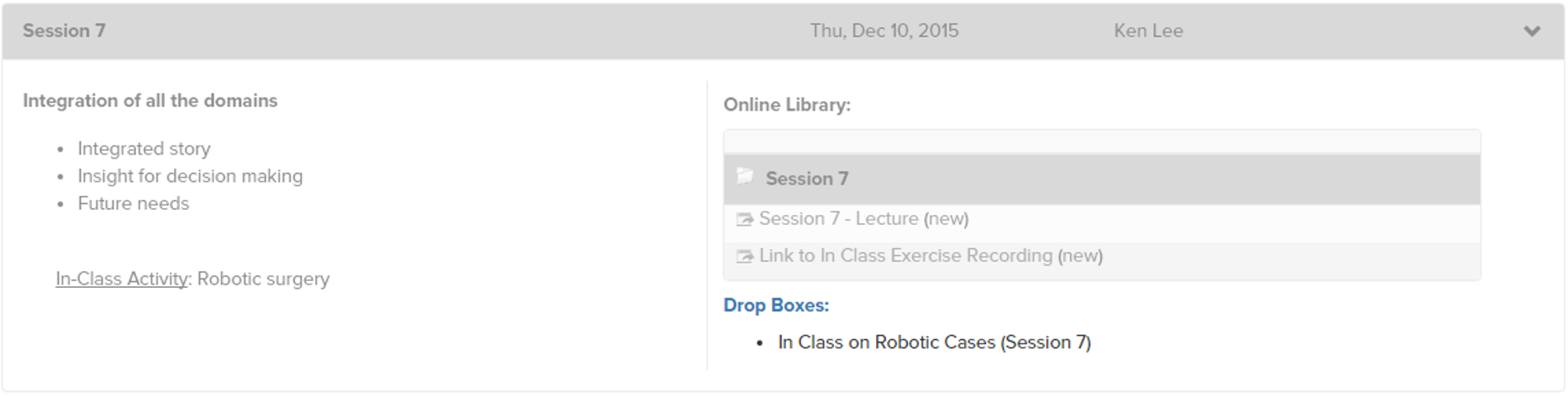 drop box in face-to-face CoursePlus session