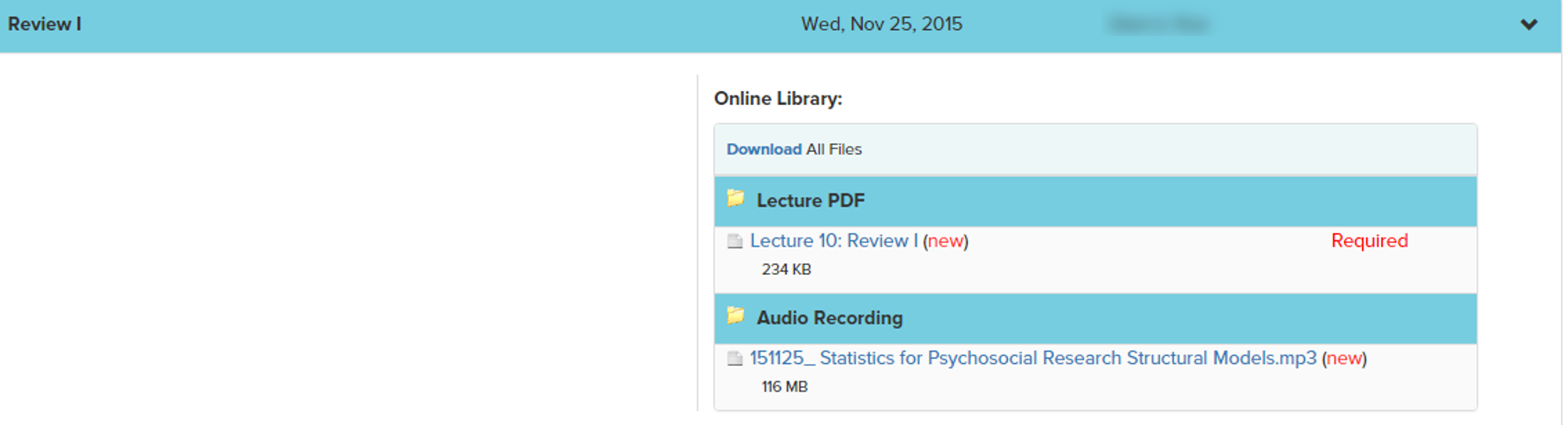 online library files linked to an on-campus class session