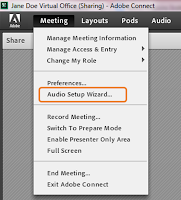screen clipping of Adobe Connect audio setup wizard from the Meeting drop-down menu