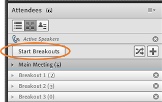 screen clipping of the Start Breakouts button in Connect