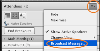 """screen clipping of Connect Attendees pod """"Broadcast Message"""" menu item"""