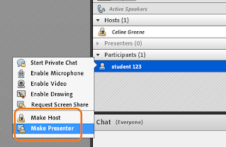 Adobe Connect screen clipping of Attendee shortcut menu to show change role
