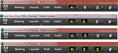 Adobe Connect screen clippings of the toolbar menu showing speaker, microphone, and camera enabled and disabled