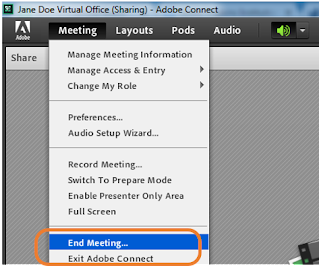 screen clipping Connect End Meeting menu item