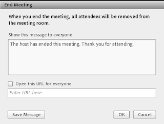 screen clipping Connect End meeting message dialogue box