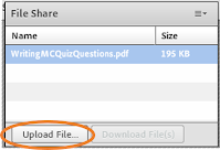 Adobe Connect File Share pod with the Upload File button highlighted