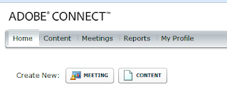 Adobe Connect navigation menu and new meeting button