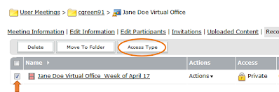 screen clipping of Connect meeting's access type option