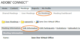 screen clipping of Adobe Connect's Edit Information option