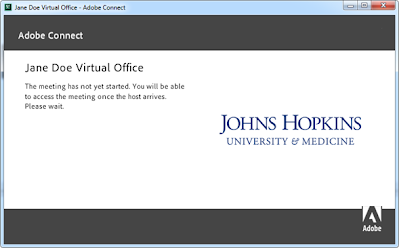 screen clipping of Connect window stating meeting has not started yet