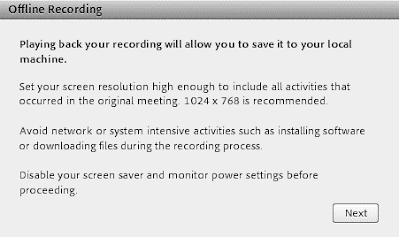 screen clipping of Connect's first prompt for an offline recording