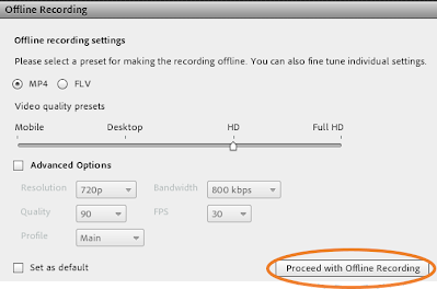 screen clipping of Connect's second prompt for an offline recording