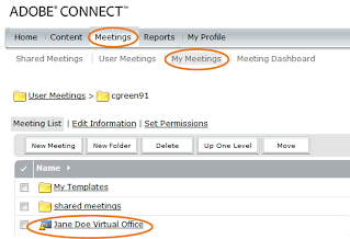 Connect Meetings screen showing the list of meetings