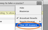 """screen clipping of Adobe Connect's poll pod menu highlighting """"Clear all answers"""""""