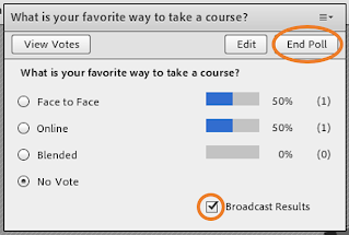 """Adobe Connect's Poll pod with """"Broadcast Results"""" and """"End"""" highlighted"""