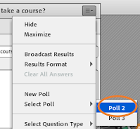 Adobe Connect's Poll Pod window menu expanded to highlight the Poll pod selection in the host view