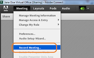 """screen clipping of Connect's """"Record Meeting"""" menu item"""