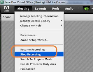 screen clipping of Connect Meeting drop-down menu's recording options