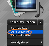 Adobe Connect's Share Document menu item highlighted in the host's Share Pod