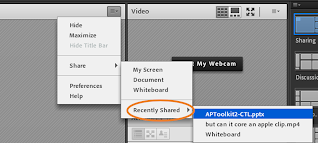 """screen clipping of Adobe Connect's share pod expanded menu highlighting """"recently shared"""""""