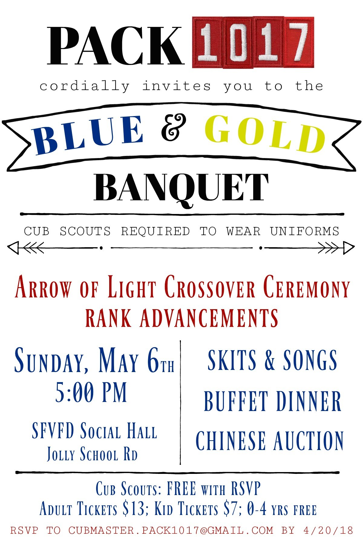 Blue And Gold Banquet Invitation Cub Scouts Pack 1017