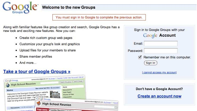 Google-Groups-Signup DIRECTIONS - Crescenta Valley Sportsman