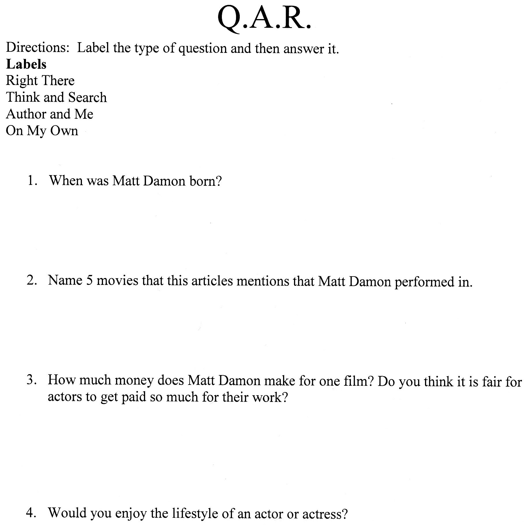 WorksheetsQuestion Answer Relationship Worksheet