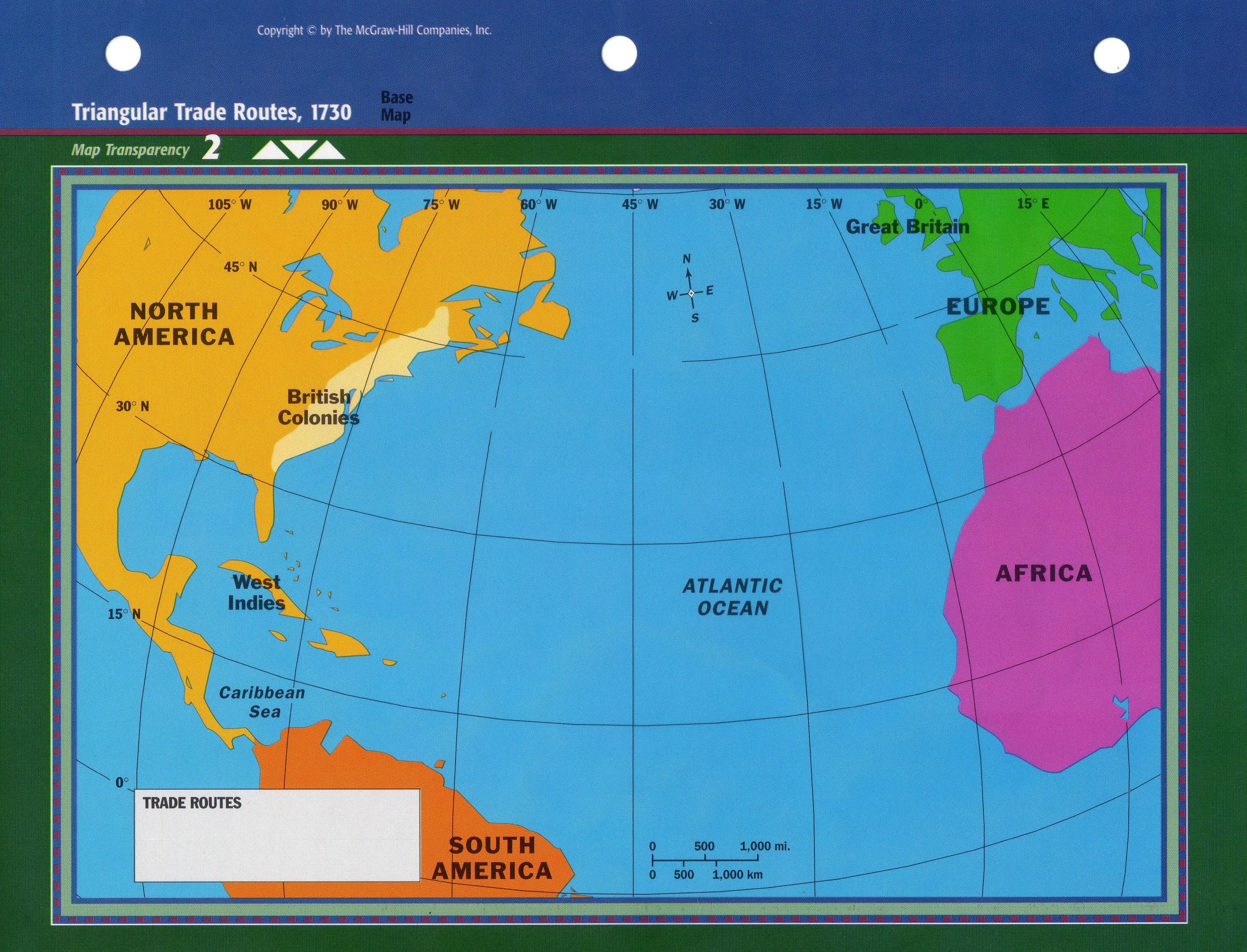 Triangular trade routes base map