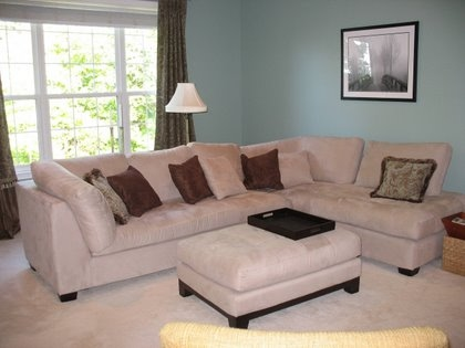 Family room sectional and ottoman from Raymour and Flanigan.