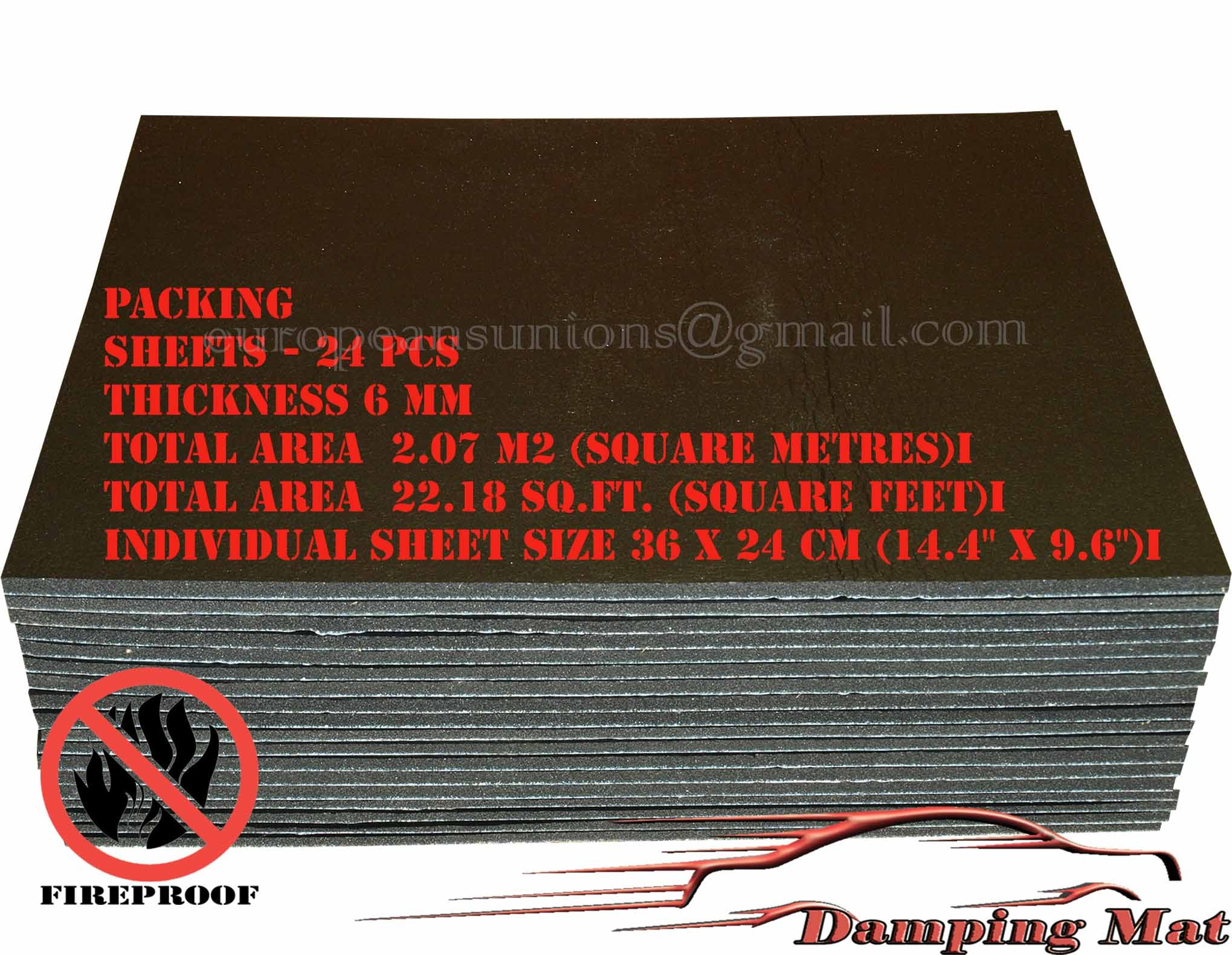 24 Sheets Car Sound Proofing Deadening Insulation Pads Absorber Acoustic Carpet Damping Mat Shop