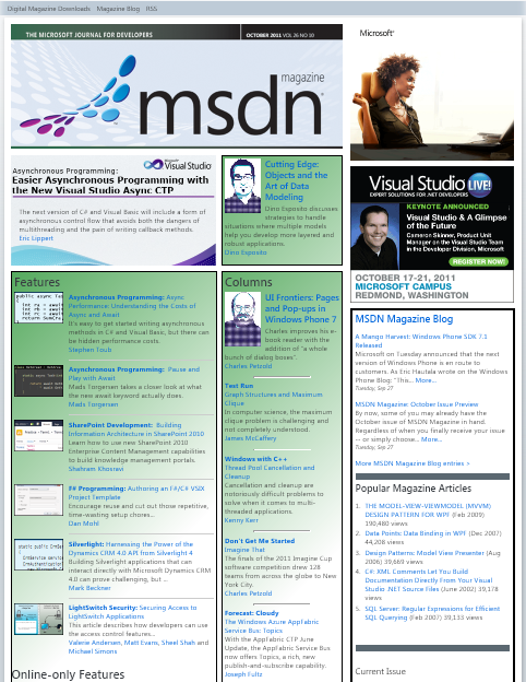 October 2011 MSDN Magazine Cover