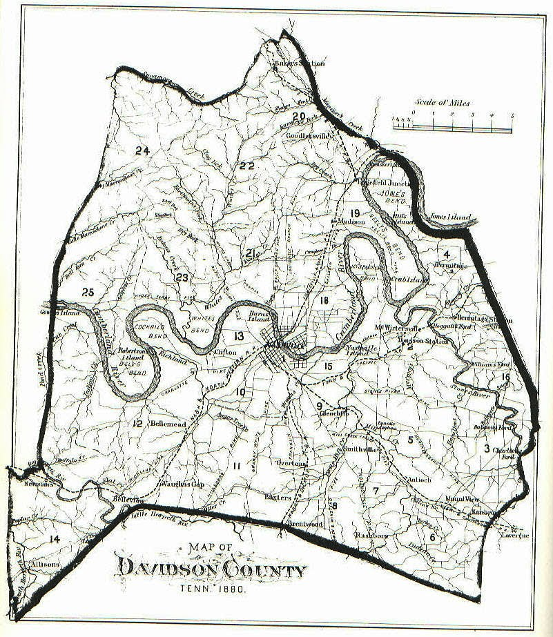 1880 - Davidson County Tennessee Davidson County Tn Map on