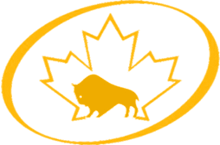 Icon of a bison with a maple leaf