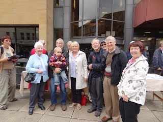 Halifax MP Linda Riordan with DBOL supporters outside Calderdale Central Library and Archives.
