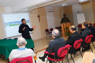 Peter Gonsalves explains the DBWAY at the inauguration of the website on January 24, 2010, Salesian Headquarters, Rome