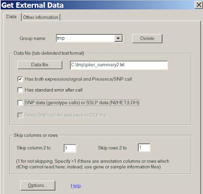Read external data files - dChip software