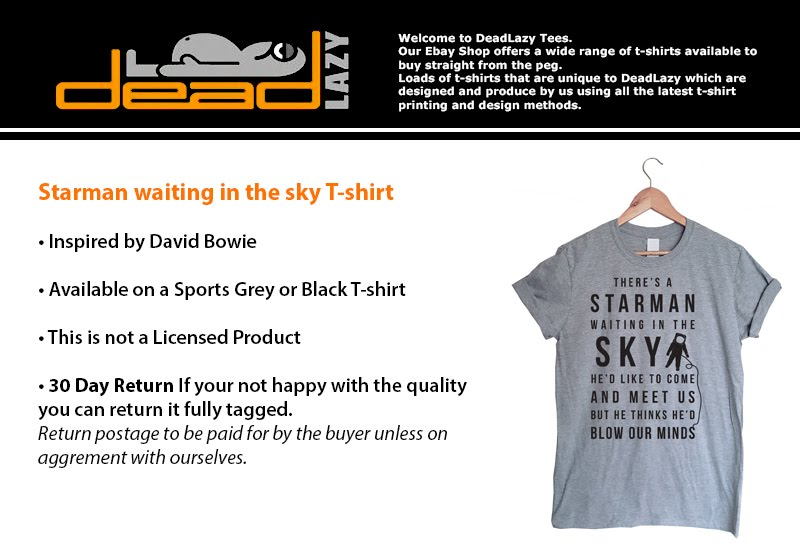 Major Tom/'s Space Station Mens Black T-Shirt Tee Music David Bowie Inspired