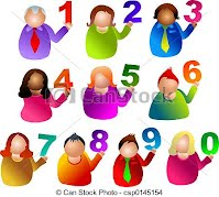 cartoon image of people holding numbers