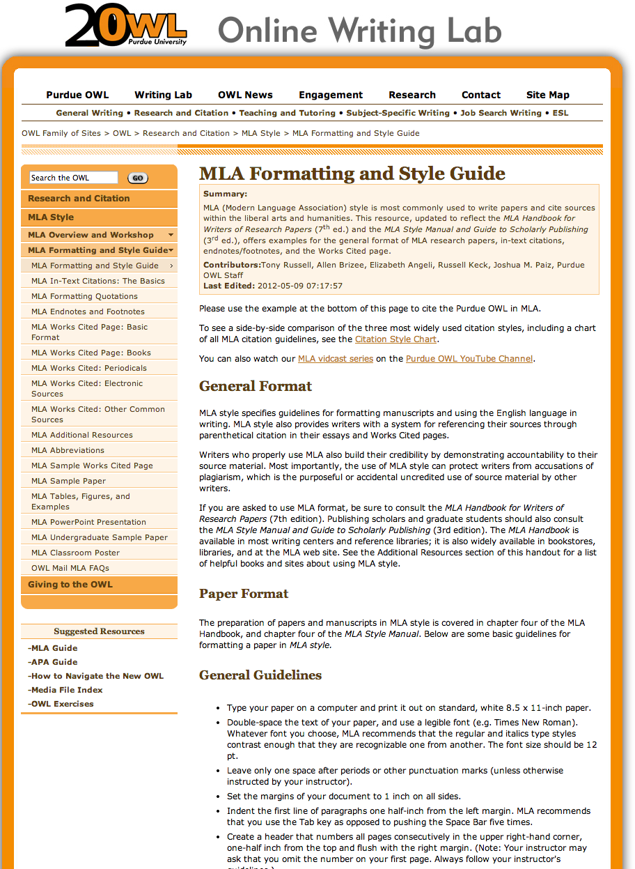 guide to web research and mla essay Mla formatting: works cited this guide is based on the mla handbook for writers of research papers web 27 may 2009.