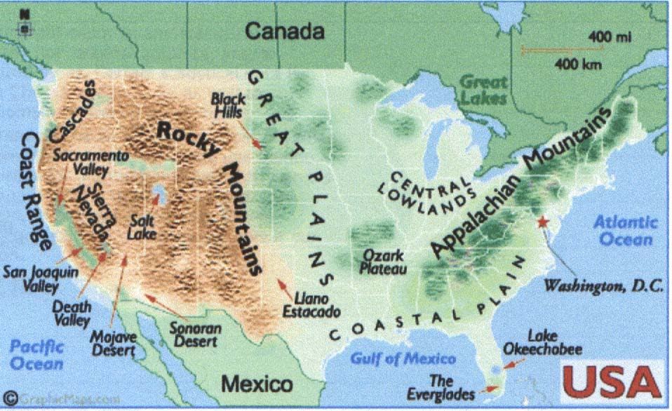 Us Map Of Mountains Deserts Islands And Landforms