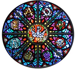 stained glass window with dove