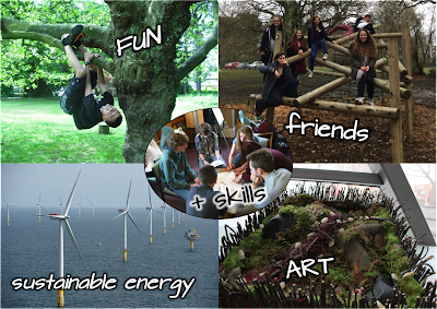 A visual representation of Exceptional DESiGN's focus on skill-building through fun, friends, sustainable energy, and accessible art. Pictures from young people having fun around the Hall are included.