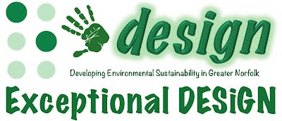 "The Exceptional DESiGN logo, which features a visual representation of the letter ""E"" in Braille, an artistic handprint, and the words ""Developing Environmental Sustainability in Greater Norfolk - Exceptional DESiGN"""